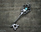 Gothic Crow Skull Key Necklace