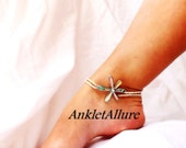 Beach Feet Abalone Flower Anklet Beach Anklet Shell Ankle Bracelet Cruise Vacation Ankle Bracelet Double Anklet