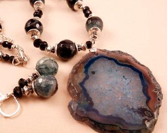 Gemstone Necklace Geode Druzy Agate  Beaded Necklace Gemstone Jewelry Beaded Jewelry Blue Necklace Blue Jewelry Black Jewelry