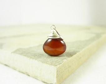 Hessonite Garnet Pendant - Dark Red Garnet Jewelry - Burnt Orange Jewelry Handmade - Natural Gemstone Pendants - Sterling Silver Charms
