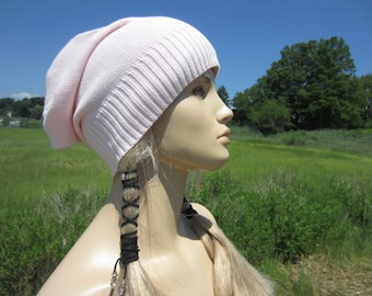 Pink Slouch Beanie Hat Women's Slouchy Baggy Back Tam Cotton Knit A1683