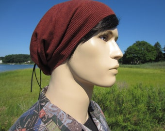 Tie Back Hat Slouchy Beanie Brown Men's Tams BOHO Clothing Styles by Vacationhouse Hats A1409