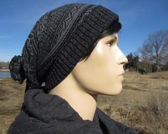 Black Beanies Fair Isle Knit Hat Men's Slouchy Beanie Stocking Cap Black & Gray Cotton Tie Back Oversized Baggy Tam  A1638