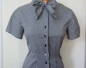SALE Yves Saint Laurent Fitted Gingham B&W Curved Sleeve Pussy Bow Blouse S