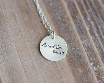 Name and Date Necklace - Sterling Silver or Gold Filled - Hand Stamped Personalized Child's Name - New Mom Gift - Valentine's Day Gift