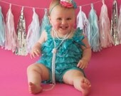 CLEARANCE......Teal Lace Romper with Teal and Coral Headband SET (Infant, Toddler)