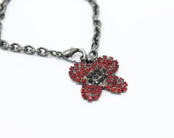 Red Flower Charm Bracelet Swarovski Crystals Adjustable Size
