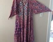 Vintage 70's Indian Cotton Adini caftan floral dress