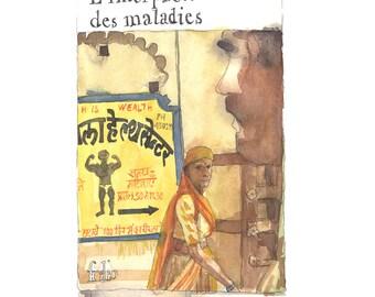 Original watercolor-Book cover watercolor-Jhumpa Lahiri watercolor/watercolor book/book drawing