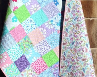 Baby Girl Quilt, Bandana Daisy Flowers, Pink Purple Blue Green, Paisley, Me and My Sister, Crib Bedding, Nursery Decor, Pretty Girly Girl