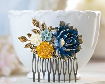 Something Blue Wedding Hair Comb Gold Navy Dusky Blue Ivory Flowers Leaf Bridal Hair Comb Rustic Vintage Wedding Bridesmaid Gift Victorian