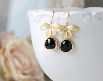 Gold and Black Earrings Jet Black Teardrop Glass Dangle Earrings Black Drop Earrings Gold Orchid Earrings Black and Gold Wedding Jewelry