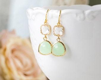 Gold Plated Mint Green Clear Crystal Dangle Earrings Seafoam Green Glass Drop Earrings Mint Wedding Jewelry Bridal Earrings Bridesmaid Gift