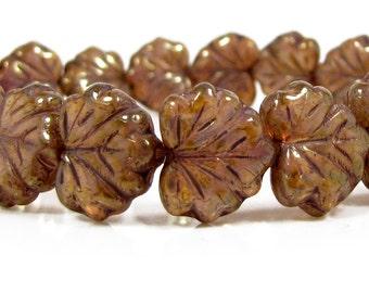 Czech  Glass Maple Leaf Bead, 10x13mm, Winter Honey Picasso, Qty: 10