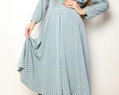 Vintage 1960s japanese Polka Long dress size S-M