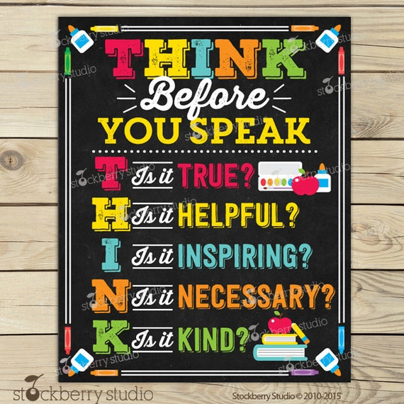 Classroom Decor Etsy ~ Think before you speak sign classroom rules