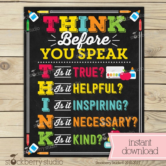 Classroom Rules Decor ~ Think before you speak sign classroom rules