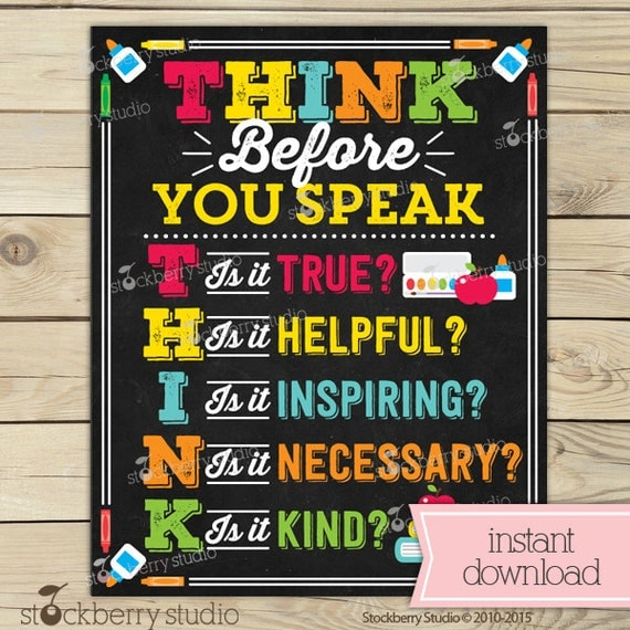 Classroom Decoration Games Free ~ Think before you speak sign classroom rules