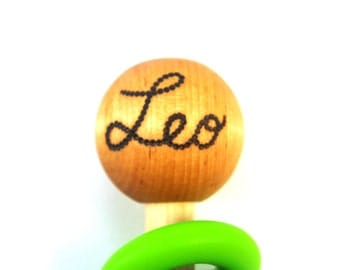 Personalized Wooden Rattle Silicone Baby Teething Toy CHOOSE COLOR