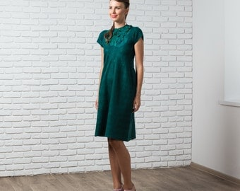 Felted emerald dress, dark green, fall autumn fashion, nuno felted dress