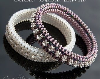 Beading pattern tutorial - CRAW bangle - PDF download - 'Celeste' bangle