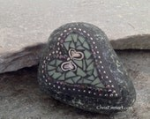 Small Green Heart Mosaic Paperweight / Garden Stone