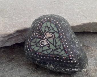 Small Green Heart Mosaic Paperweight / Garden Stone