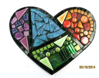 """CUSTOM Mosaic Heart with Stained Glass, Mirrored Glass, Colored Gems, Ceramic Tiles and Handpainted Glass - Measures  8.5"""" x 5"""""""