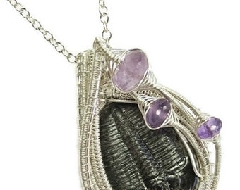 Wire-Wrapped Trilobite Fossil Pendant in Sterling Silver with Amethyst - TRILSS10