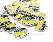 VW Bus Charms, 3pc Green Yellow and Black Camper Van Charms, 20x18