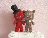 Wedding Cat Cake Topper, Crochet Cake Topper