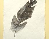 Original watercolour guinea fowl spotty feather study