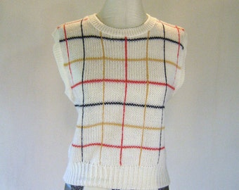 Tilbury Knit Grid Sweater Vest Top