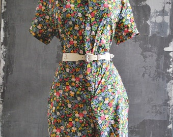 Floral Button Down Romper, Large; Short Sleeve Jumper; Romper in Flower Print - Free Domestic Shipping!