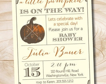 Fall Baby shower invitation rustic Little Pumpkin Autumn Baby Shower - Printable digital file or printed invitations
