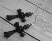 Black Cross Earrings Cross Jewelry Gothic Cross Earrings Goth Cross Jewelry Black Crosses Heavy Metal Punk Rock and Roll Rocker Rock n Roll
