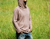 SAMPLE SALE Eco Friendly Hoodie in Heathered Mocha - Hemp - Organic Cotton - Organic Clothing - Raglan Sleeve