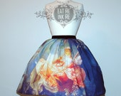 Fine art print skirt classic lolita Fragonard Swing OLD MASTERS two sided special velvet bow gothic lolita victorian rococo