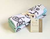 Baby Car Seat Strap Covers - Bicycle - Reverses to Aqua Minky - Charcoal Grey, Aqua, and White