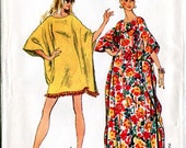 Simplicity 5628 Vintage 1970s Caftan Coverup Beach Wrap Sewing Pattern Uncut One Size