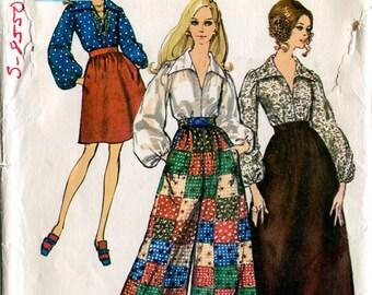 Simplicity 8550 Vintage 1960s Culottes Split Skirt Palazzo Pants Maxi Skirt Blouse Sewing Pattern B38 Uncut