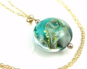 Ocean necklace, Ocean wave necklace, Beach jewelry gift, Sea Green Gold Murano Glass Pendant, Venetian Glass Necklace,Nautical pendant