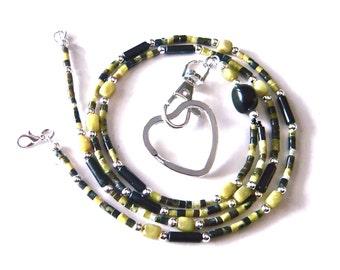 Teacher Lanyard, Lanyard Necklace for Keys, Beaded Lanyard, ID Badge Holder, Green Serpentine, Blackstone, Key Lanyard, Gift for Teacher