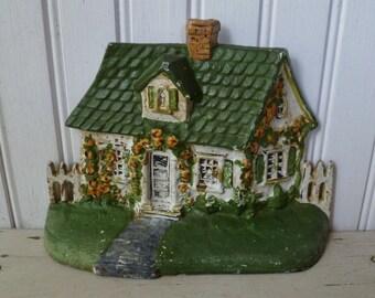 Cottage Doorstop. Cast Iron, Original Paint. House, Roses, Picket Fence. Vintage Antique 1920s Doorstop. National Foundry. Cape Cod.