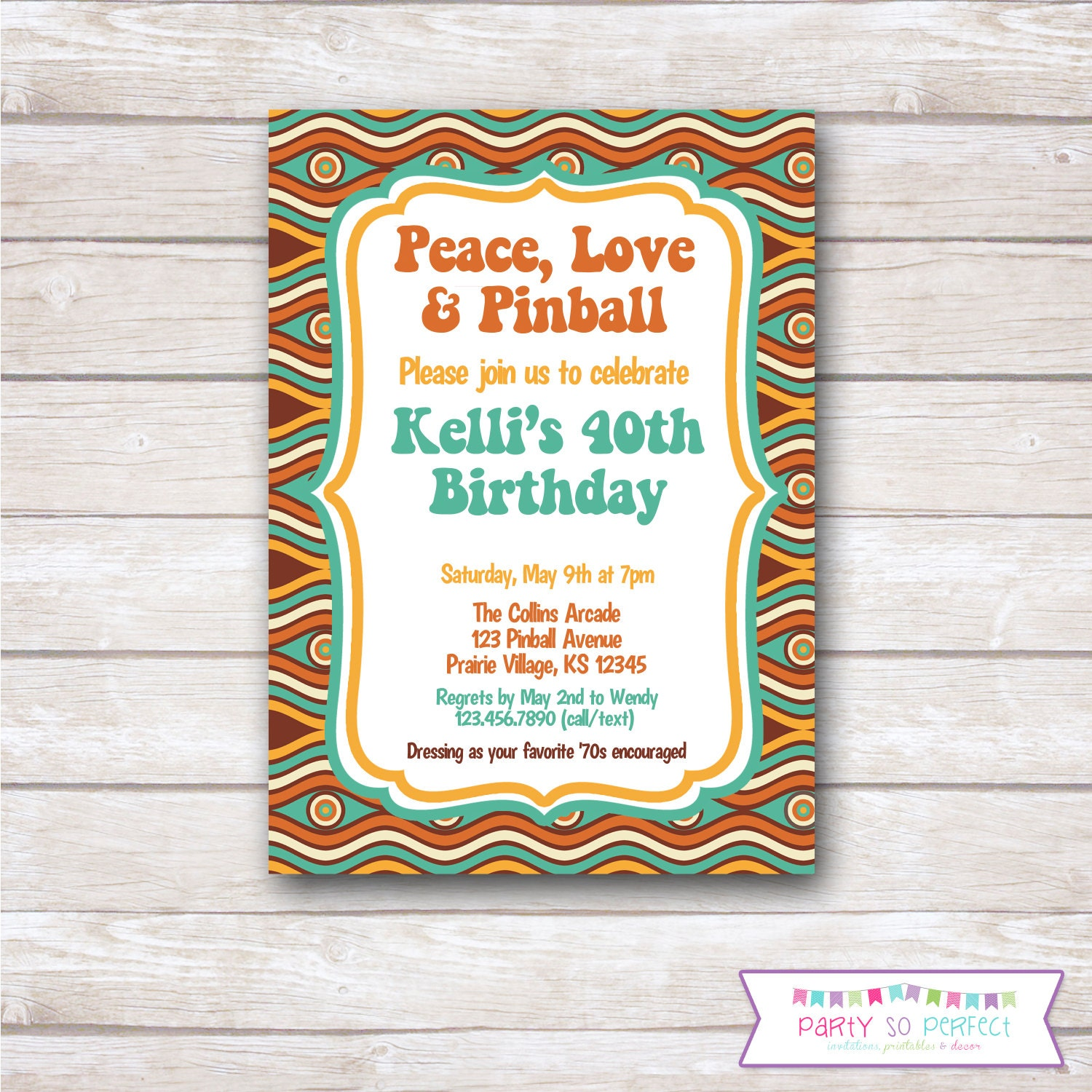 70s RETRO VINTAGE Birthday Party Invitation - Printable ...