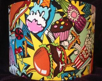 Midnight Snack Pop-Art Fabric Drum Lampshade