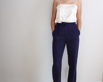 90s ARMANI high waisted, purple, virgin wool trousers, made in italy, size 6