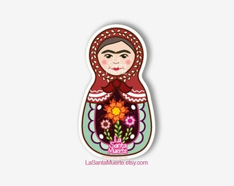 Frida Kahlo sticker, russian nesting doll waterproof sticker