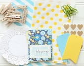 10 Blue & Yellow DIY Gift Wrap Packaging Kits / Happy Mail Kit - Gift Bags, Tags, Doilies, Clothespins, Baker's Twine, Note Cards, etc