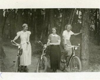 "Vintage Photo ""Sunday Bike Ride"" Riding Bicycle Snapshot Photo Old Antique Photo Black & White Photograph Found Photo Paper Ephemera - 123"